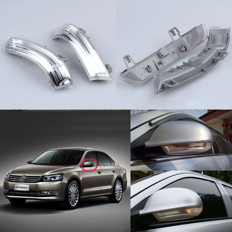 For Volkswagen VW Passat B6 3C2 2005-2010 Magotan Led Car Styling Side Mirror With Indicator Turn Signals Lights 1KD 949 101/102 car styling 13pcs excellent canbus led bulb interior dome map light kit package for volkswagen vw passat b6 2006 2010