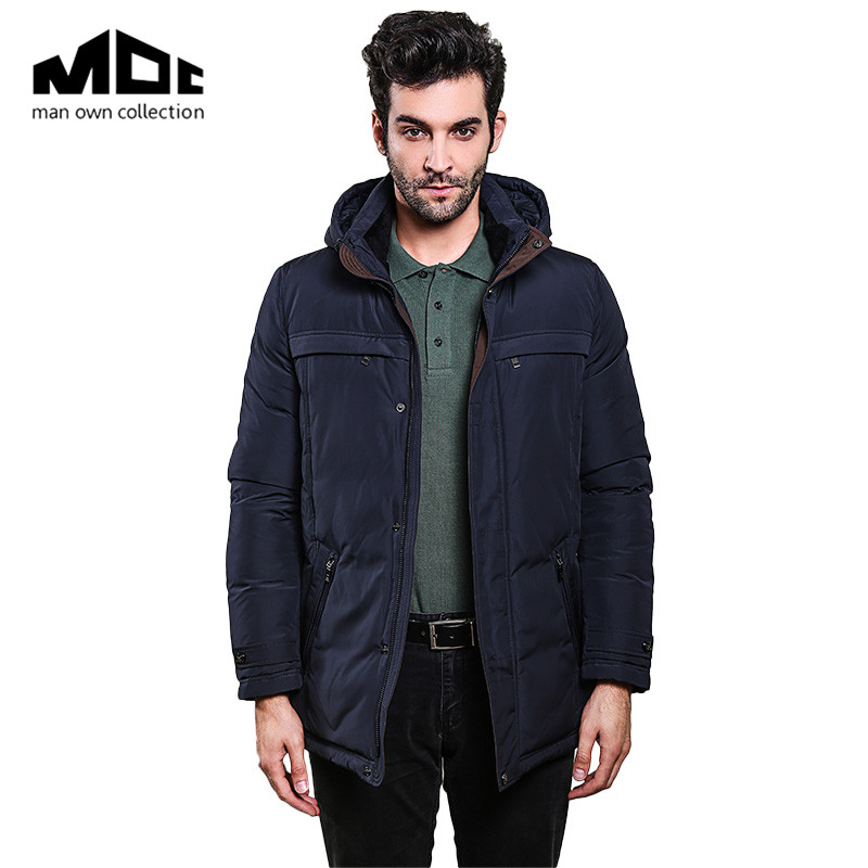 MOC Man Clothes Winter Man Bread Coats Solid Color Wide-Waisted Casual Style With Hooded Pocket Thick Clothing Male Thicken Cotton Coat Parkas