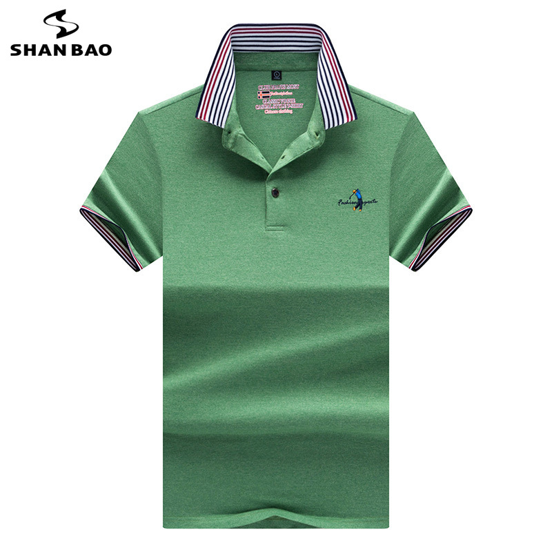 Striped lapel men's casual short-sleeved   Polo   shirt 2019 summer style chest creative embroidery fashion solid color   Polo   shirt