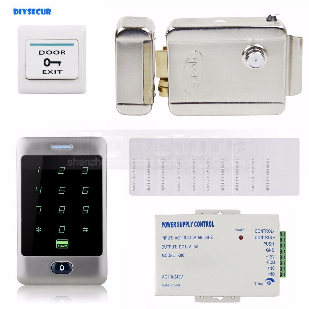 DIYSECUR 125KHz RFID Reader Password Keypad + Electric Lock Door Access Control Security System Kit wired keypad reader entry door lock access control security system kit with 5ps 125khz card