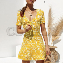 CUERLY Casual Bohemain floral print short dress women Summer v neck lace up mini dresses Elegant holiday beach vestidos 2019