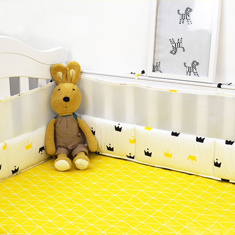 5pcs/set Baby Crib Bedding Set Cotton & Mesh Protect Bumpers in Cot Baby Bedding Set Include 4 pcs Bumpers +Bed Sheet 13 Sizes promotion 5pcs cot baby bedding set lion character crib cotton bedclothes include bumpers sheet