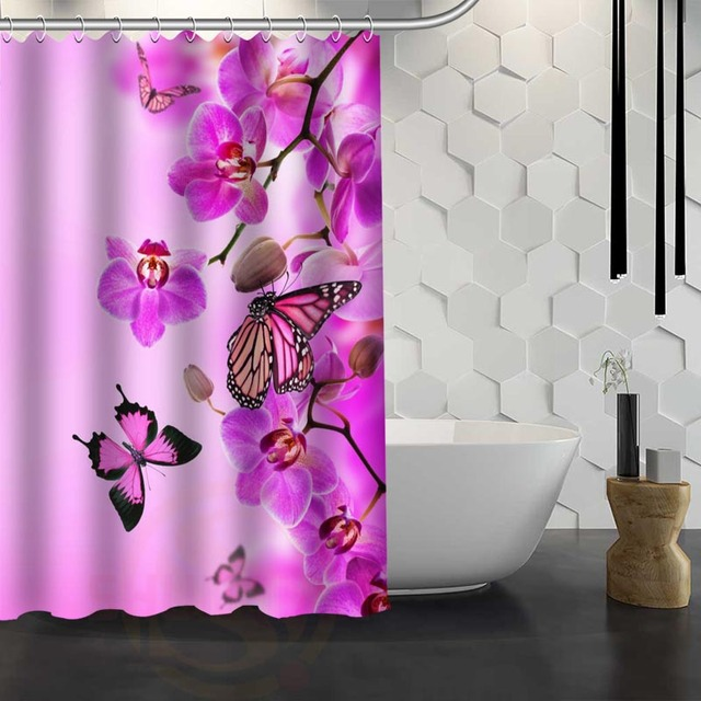 Hot Sale Custom Spring Flowers Butterfly Shower Curtain Waterproof Fabric Shower  Curtain For Bathroom F#