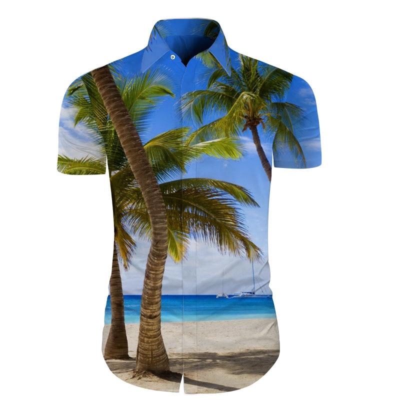 Cloudstyle Mens Short Sleeve Shirt 3D Cocos Sea Beach Hawaiian Shirts Camisa Masculina Men Social Shirts Floral Dress Streetwear