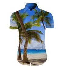 Cloudstyle Mens Manga Curta Camisa 3D Cocos Mar Praia Havaiana Camisas  Camisa Masculina Homens Camisas Sociais a81f2e75cc38c