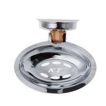 Stainless Steel Vacuum Suction Cup Soap Holder Dish for Bathroom Kitchen