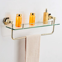 AUSWIND Antique Soild Brass Gold Or Black Glass Shelf European Hexagonal Base Towel Rack Wall Mount