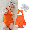 2PCS Baby Girl Sleeveless Lace Bodysuit Baby Summer Outerwear Butterfly Collar Orange Colors Infant Jumpsuit Polka Dot Headwear