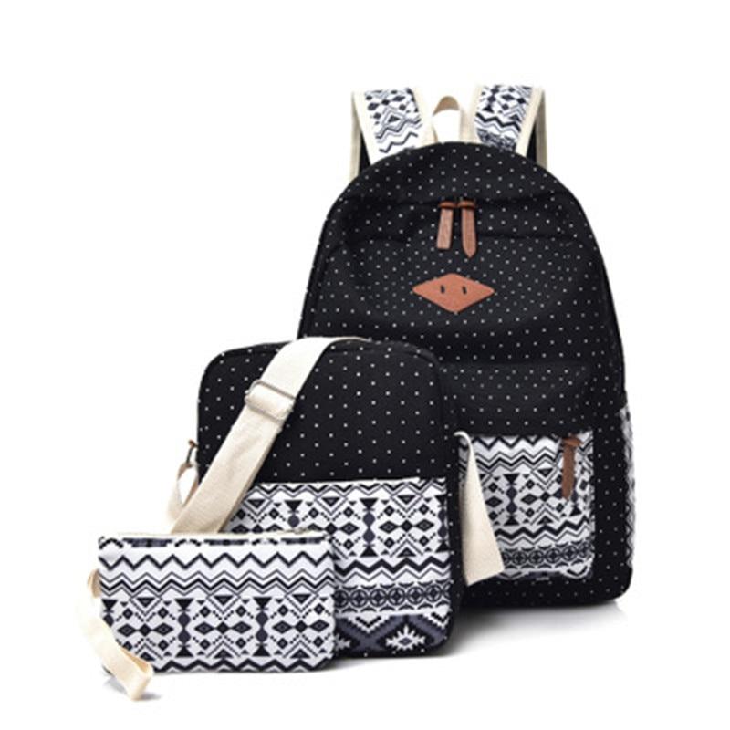 3pcs Preppy Canvas Printing Backpack Set Women School Bags For Teenage Girls Mochilas Cute Black Travel Backpacks Female Bagpack
