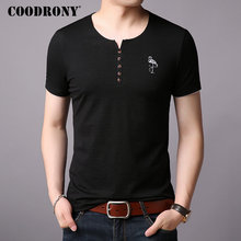 COODRONY Cotton T Shirt Men Chinese Style Short Sleeve T-Shirt Summer Street Wear Casual Henry Collar Tee Homme S95006