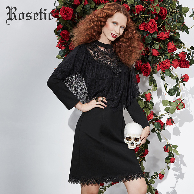 Rosetic Gothic 2018 Dress Black Women Spring Lace Slim Vintage Bodycon Hollow Ruffle Patchwork Sexy Fashion Goth Dresses  2