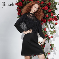 Rosetic Gothic 2018 Dress Black Women Spring Lace Slim Vintage Bodycon Hollow Ruffle Patchwork Sexy Fashion
