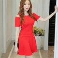 2016 Осень Новый женский платье Корейской моды вязать милый темперамент Тонкий тонкий с плеча платье женщины Черный и Красный S-XXL размер