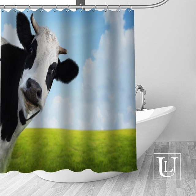 Waterproof Bathroom Curtains Modern Cow Shower Curtain Polyester Bath Screens Customized