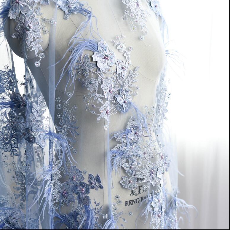 Luxe plume perlée broderie dentelle tissu à la main bricolage 3D fleurs vêtements accessoires matériaux RS800