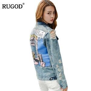 Image 2 - Rugod 2018 vintage engraçado imprimir jean jaqueta feminina rasgado buraco manga longa bombardeiro jaquetas casual primavera outono curto denim jaqueta