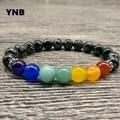 YNB 7Chakra Bracelet with 8mm Snowflake Stone, Elasticity Bracelets for Women, Yoga Gift Mala Bead Jewerly Unisex Spiritual Gift