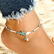 New Bohemia Fashion Beaded Seashell Starfish Anklets Barefoot Sandals Foot Jewelry For Women Summer Beach On The Leg Chic Anklet цена