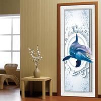 3D Animal Dolphins Door Stickers Bedroom Living Room Bathroom Door Stickers Decoration Waterproof Wall Stickers 45