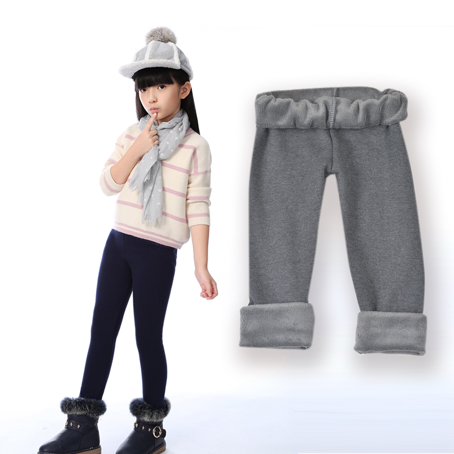 New Fashion plus velvet skinny thickening ankle length girls leggings Children's 3-11 Year Cotton Warm Pant SCW1109