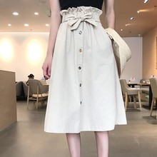 Lace Up Decoration High Waist A-line Women Mid-Calf Skirt Korean Style Summer Solid Color Single-breasted Female Student