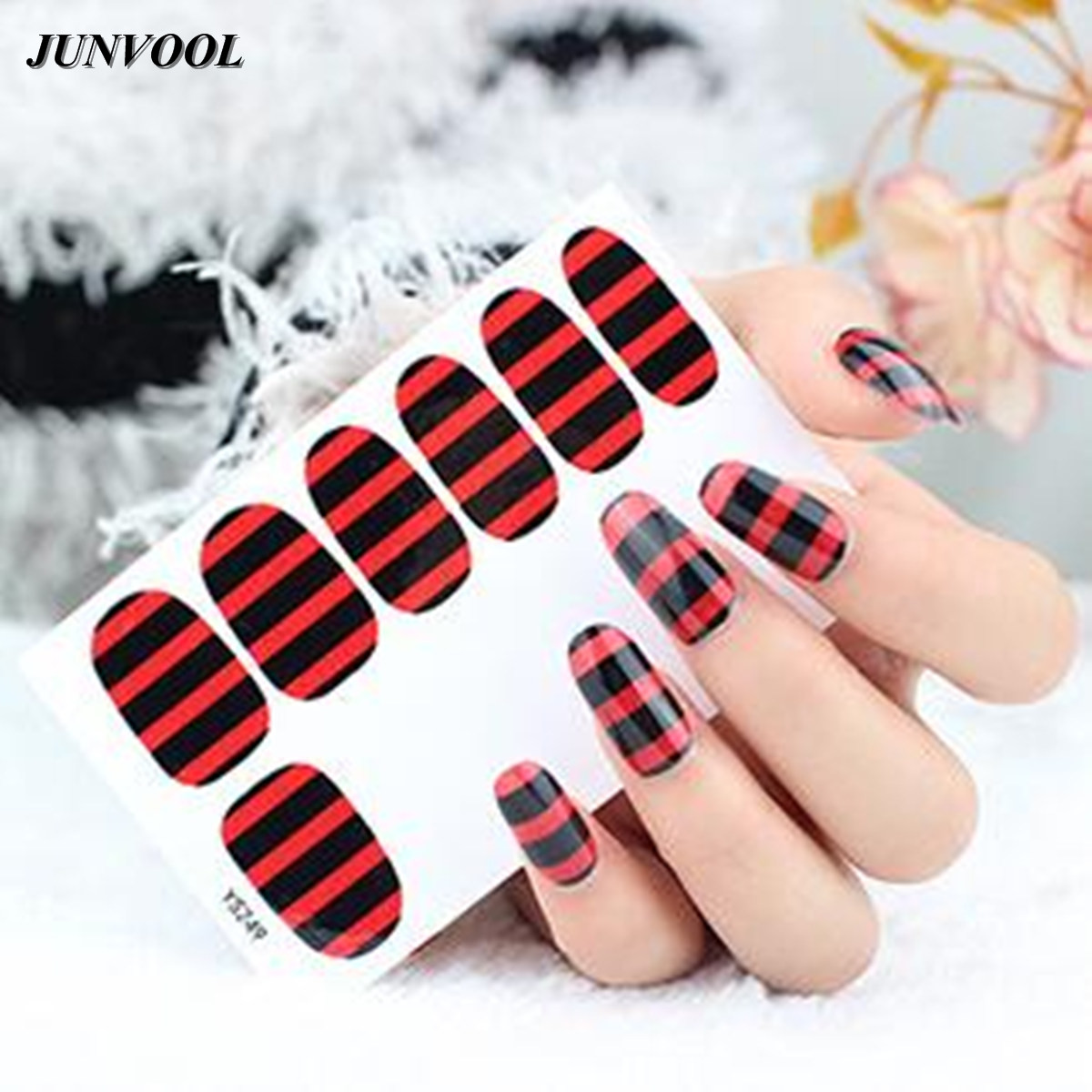 Adhesive Nail Art Decoration Stickers 5pcs French Full Nail Foil ...