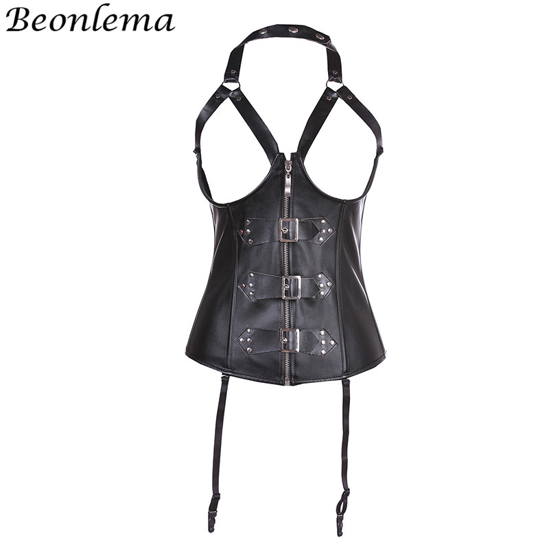 Beonlema Leather   Corset   Steampunk Gothic Women Black Bodice   Corsets   and   Bustiers   Red Sexy Corselet Top Exotic Underwear Gorse