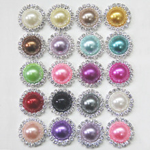 Free Shipping Wholesale 21mm 100pcs/lot 20Colors Flatback Rhinestone Button Peal Button For Hair Flower Wedding Invitation B021