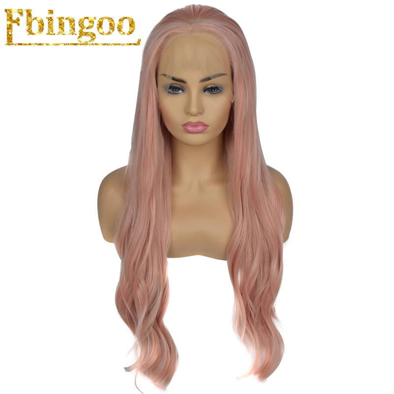 Ebingoo 26 inch Long Body Wave Wigs Pink Burgundy Red Black Natural Synthetic Lace Front Wig