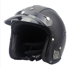 Black Adult Open Face Half Leather Helmet Harley Moto Motorcycle vintage Motorbike Vespa  casco S M L XL XXL