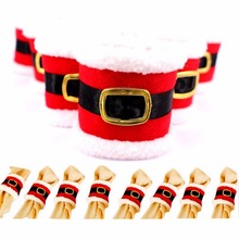 100 Pcs / Lot Leather Belt Buckle Napkin Rings Christmas Table Decoration Holder adornos navidad 2016 for New Year