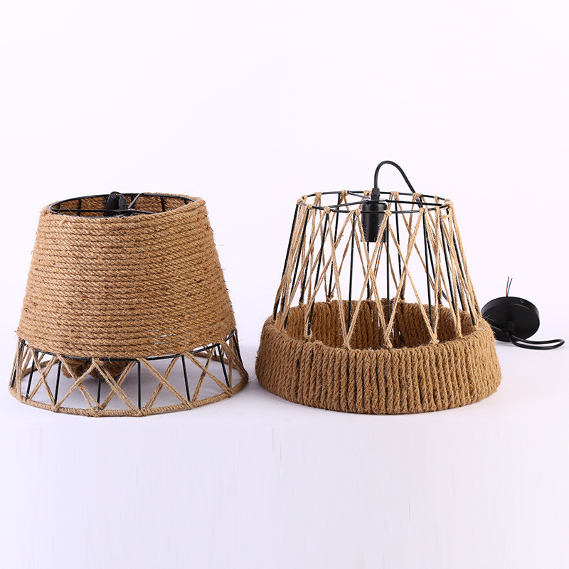 Rural Style Creative Hemp Pendant Straw Hat Lamp Bar Cafe Restaurant Loft Lighting Decorative Hand knitted Woven Rope Chandelier rural pastoral creative restaurant cafe personality wrought iron rope chandelier lamp internet cafe bar loft hemp rope lamp