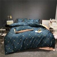 New arrivel 60S egyptian bedding sets bear plaid bed set queen king size duvet cover bed sheet set pillowcase