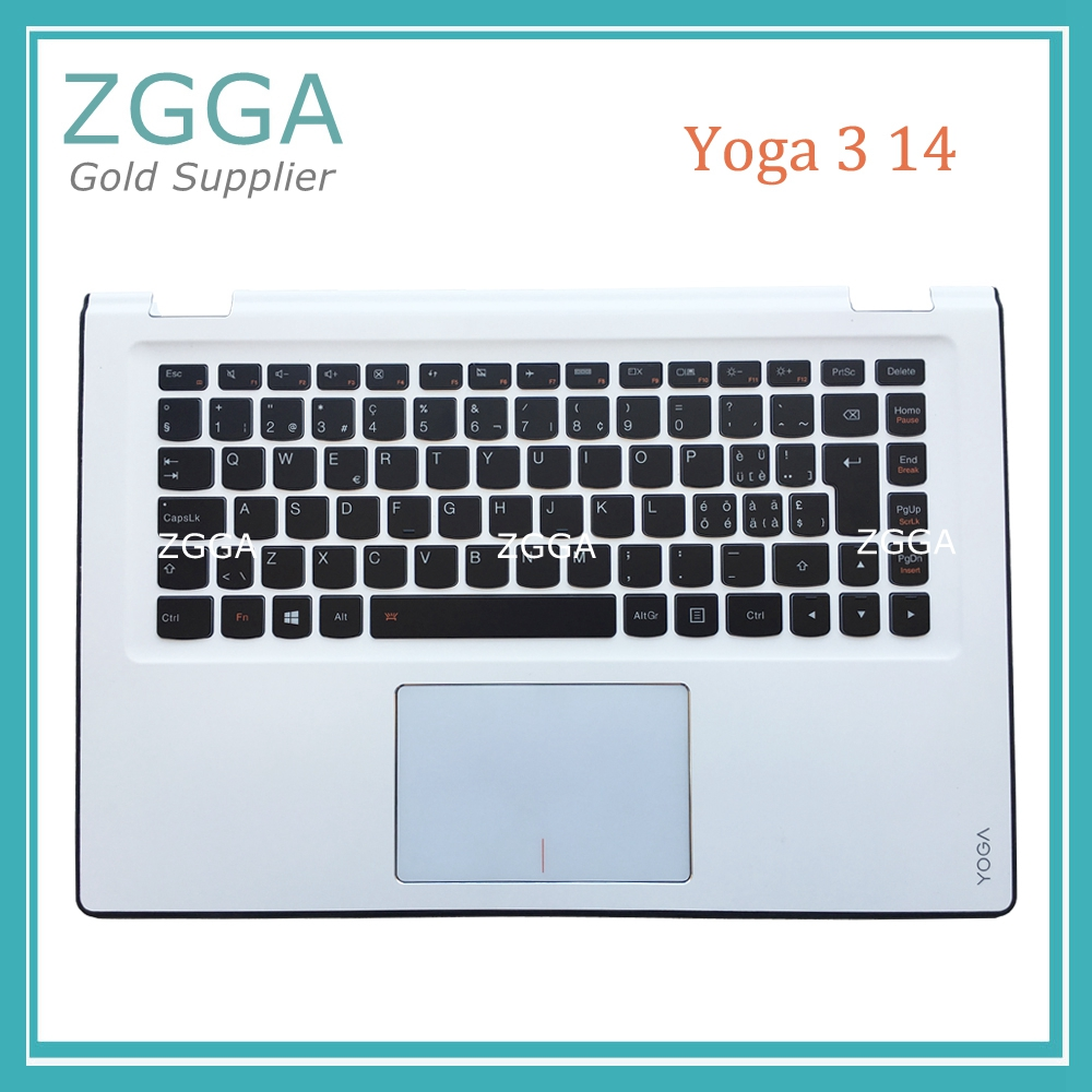 Genuine New for Lenovo Yoga 3 14 Keyboard Palmrest Bezel Upper Case Cover White with Backlit Touchpad Big Enter AP0YC000310 spanish latin laptop keyboard for sony vaio svp1321ecxb svp1321ggxbi svp1321hgxbi svp1321zrzbi sp la palmrest backlit touchpad