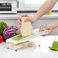 4YANG Manual Mandoline Slicer Multi Function Vegetable Cutter Set With 5 Blade Potato Carrot Cutter Peeler