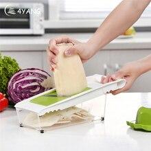 4YANG Manual Mandoline Slicer Multi-function Vegetable Cutter Set with 5 Blade Potato Carrot Cutter Peeler Vegetable Salad Tools