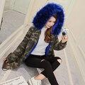 Camuflaje de la mujer Largo Abrigo 2016 Chaqueta de Invierno de Gran Cuello de Piel Con Capucha de Piel Caliente Gruesa Capa Parkas Outwear Envío Gratis