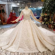 LS11298 luxury hand working wedding dress royal train o-neck long sleeve shiny bride dress wedding gown 2019 new fashion design(China)