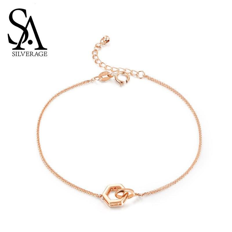 SA SILVERAGE Bracelet bijoux fins 2019 Bracelet filles 18 K or Rose chaîne lien Bracelets Bracelets pour femmes hexagone forme charme