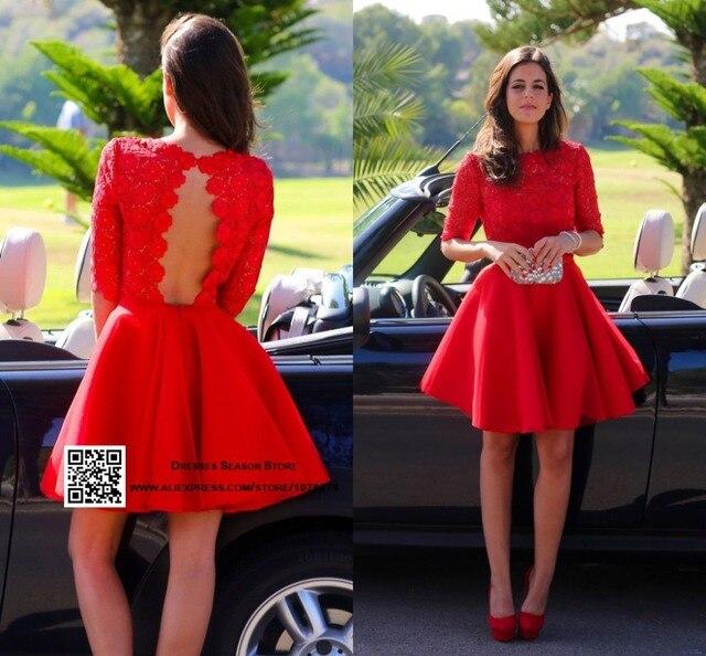14adb1547 Robe de Cocktail 2015 de Encaje Sin Espalda Vestidos de Fiesta Corto Prom  Vestidos de Cuello