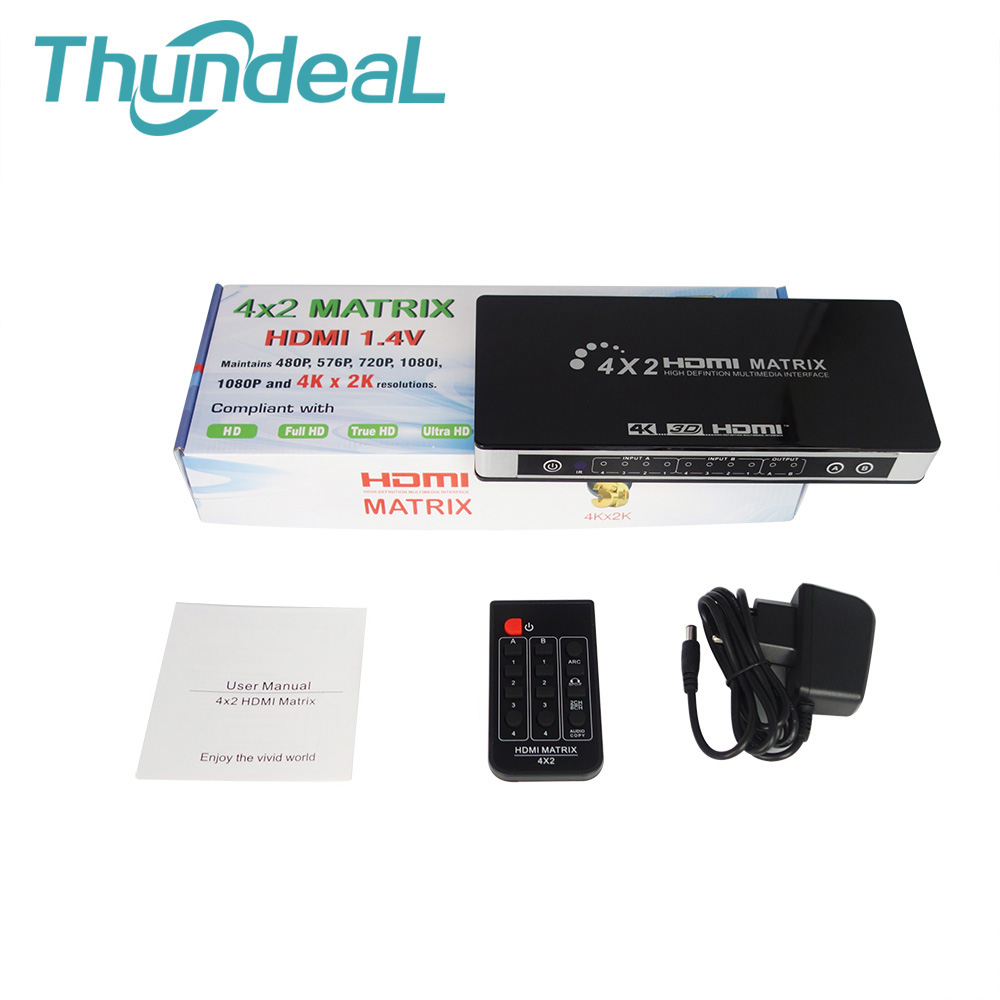 HDMI Matrix 4X2 Switch Splitter Full HD 4K 2K 3D 1080P HDMI Matrix Converter Adapter with Remote Control + Toslink SPDIF Audio