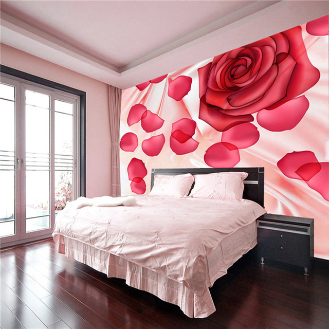 Romantic Rose petal Photo wallpaper Flowers Wall Mural Silk ...