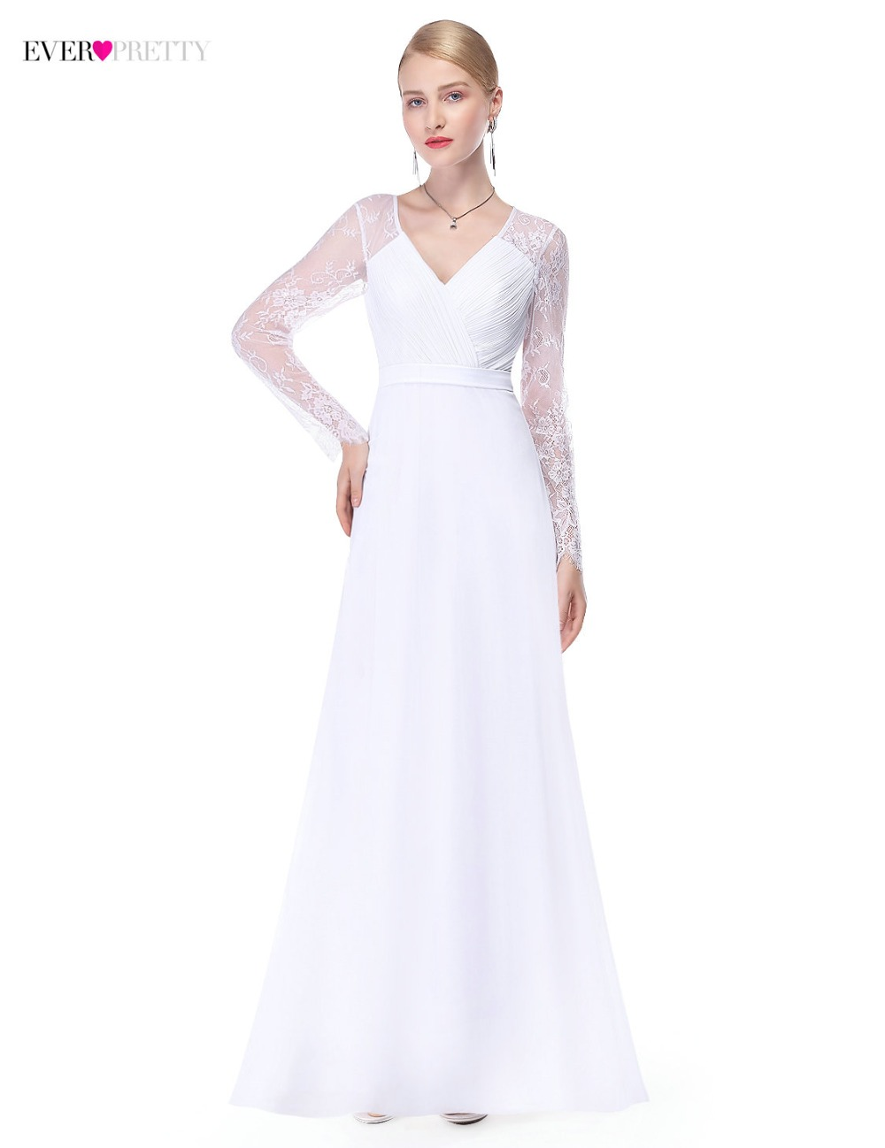 Illusion Long Sleeve Wedding Dresses Long Lace A Line V Neck Simple ...