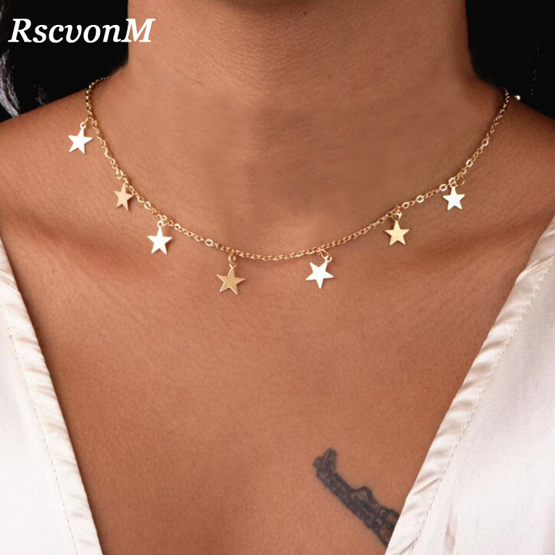 RscvonM Fashion Women Jewelry Natural Alloy Gold Color Star Pendant Necklace And Heart Pendant Necklace Woman Choker Necklace
