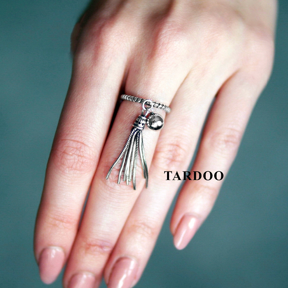 TARDOO Real Tassel 925 Sterling Silver Rings Statement Cuff ...