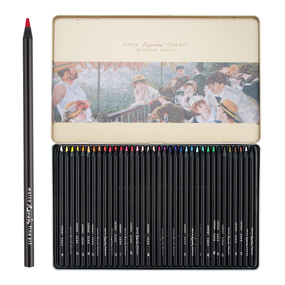 Marco Renoir 3200-36TN Art Painting Pencils 36 Colored Set with Metal Tin for Sketching Drawing Coloring Pencils Black Wood женские часы adriatica a3464 1113q