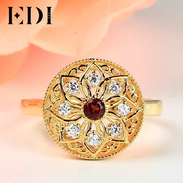 EDI Vintage 925 Silver Bezel Set Natural Rings Garnet Cutting Surface Big Cocktail Party Ring For Women Fine Jewelry