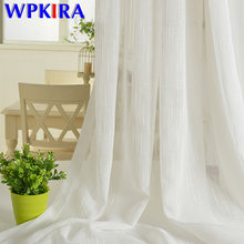Coffee Tulle Curtains For Kitchen Door White Sheer Striped Curtains Drapes For The Living Room Window Linen Curtains WP039-30(China)