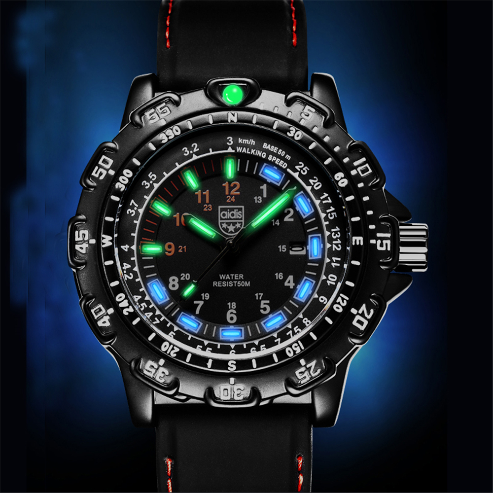 все цены на Top Brand Luxury Luminous Waterproof 50M Men Wrist Watch Military Sport Watch Diving Famous Male Clock For Man Relogio Masculino