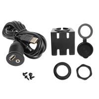 1m/2m Car Dash Board Mount 3.5mm USB 2.0 AUX Socket Extension Lead Panel Cable